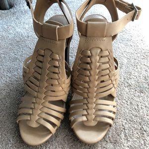 Nude Weave Heeled Sandals